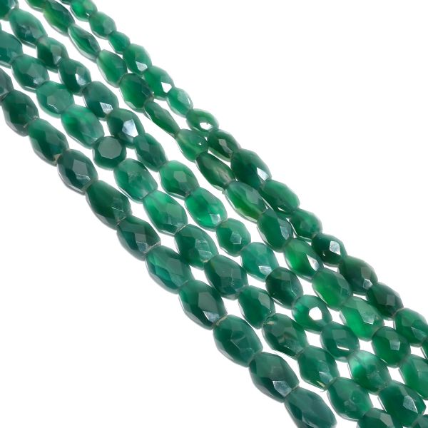 Green Onyx Faceted  and Natural Stone Beads - 9x8-16x12mm With Oval Shape
