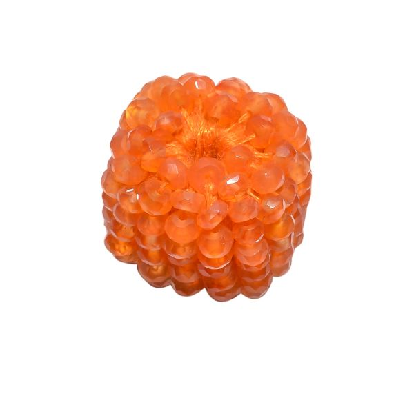 Carnelian Faceted Beaded Beads in Roundel and Square Shape  - 17x16mm
