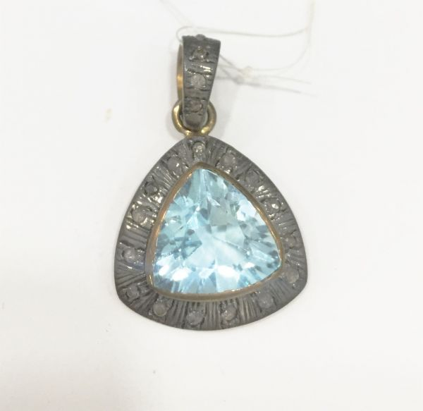 Silver Diamond Pendant With Natural Diamond And Natural Stones.