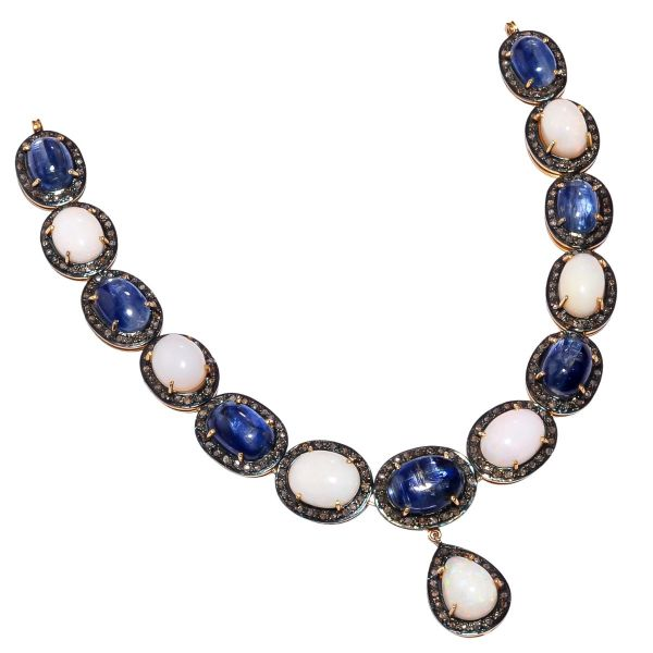 Victorian Jewelry, Silver Diamond Necklace With Rose Cut Diamond, And Kyanite, Opal Stone Studded In 925 Sterling Silver, Gold/Black Rhodium Plating. J-2503