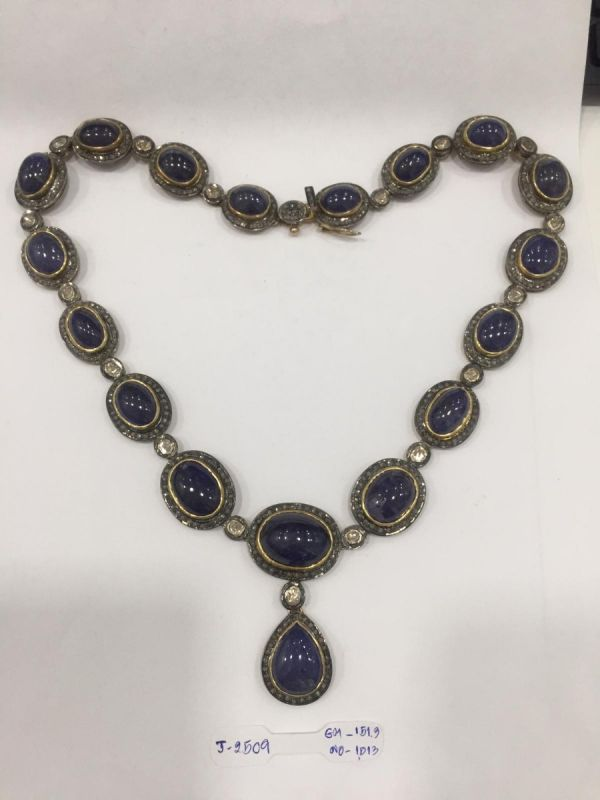 Victorian Jewelry, Silver Diamond Necklace With Polki Diamond, And Tanzanite Stone Studded In 925 Sterling Silver, Gold/Black Rhodium Plating. J-2509