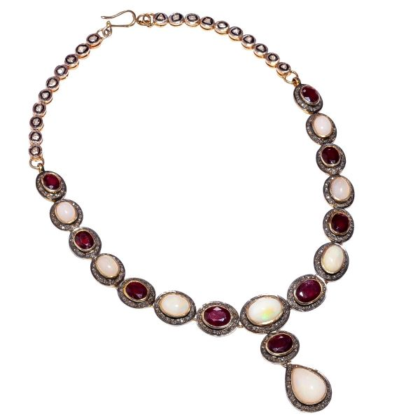 Victorian Jewelry, Silver Diamond Necklace With Polki Diamond, And  Opal, Ruby Stone Studded In 925 Sterling Silver, Gold/Black Rhodium Plating. J-2511