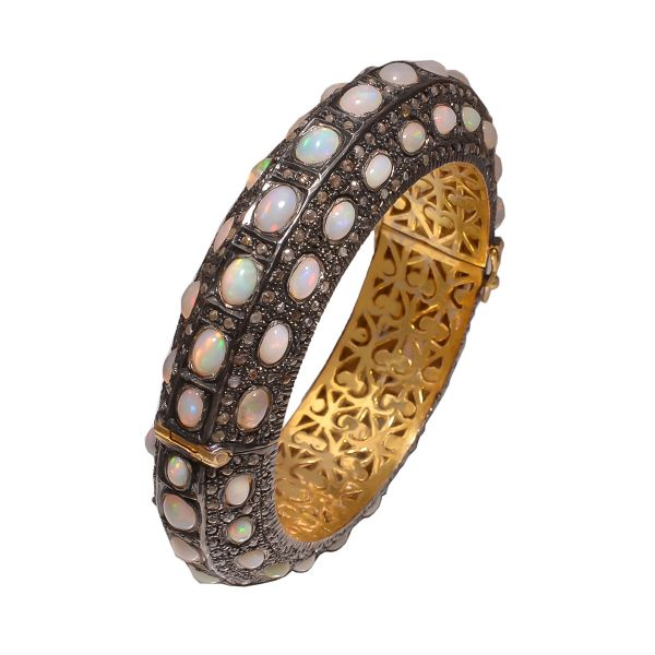 Victorian Jewelry, Silver Diamond Bangle With Rose Cut Diamond And Opal In 925 Sterling Silver Gold, Black Rhodium Plating