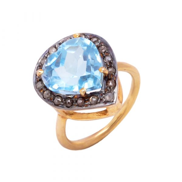925 Sterling Silver Gold Plated Diamond Ring Antique Victorian Style With Natural Blue Topaz Stone Studded. J-165