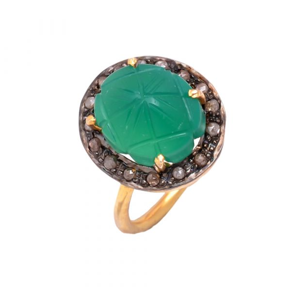 Victorian Jewelry, Silver Diamond Ring With Rose Cut Diamond And Green Onyx Stone Studded In 925 Sterling Silver Gold, Black Rhodium Plating. J-168