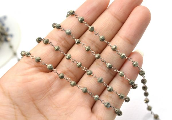 Gorgeous Sterling Silver Wire Wrapped Rosary Chain-2mm Natural Pyrite Silver Gold Plated Rosary Chain With Stone-Silver Aati Chain-Sold By Foot.