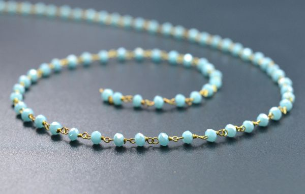 3mm Aqua  Chalcedony Coated Rosary Chains With Gold Plated Sterling Silver-Made In Inida Roundell Beaded Wire Wrapped Rosary Chain -Sold By Foot