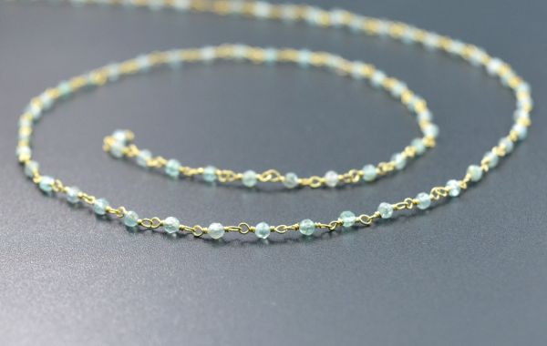 Handmade 925 Sterling Silver Wire Wrapped Rosary Chain-Roundell Shape 3mm Gold Plated Running  Chain -Sold By Foot