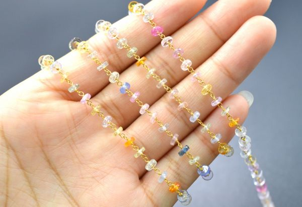 18K Solid Yellow Gold, Gorgeous Handmade Wire Wrapped with AAA Quality Coin Faceted Natural Multi Sapphire Beads. Shape 4 MM Rosary Chain. Sold By 1 Inch, SGGRC-003