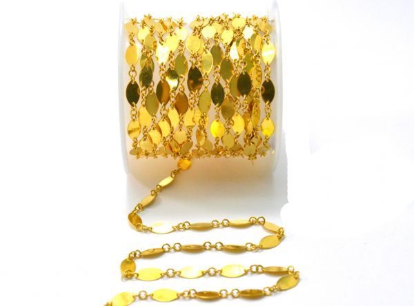 18K Solid Yellow Gold Splendid Plain Chain, Shiny Finish 8x4MM Flat Marquise Chain.Sold by 17 cm, SGGRC-030.