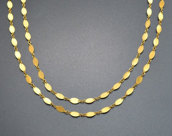 18K Solid Yellow Gold Aristocratic Handmade Plain Chain, Brushed Finish 8x4MM Marquise Flat Chain. Sold by 17 cm, SGGRC-035.