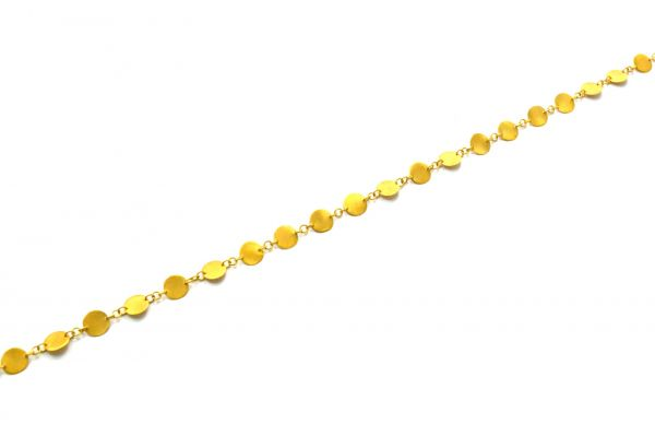 18K Solid Yellow Gold Stunning Handcrafted Plain Chain, Brushed Finish 6MM Flat Coin Flat Chain. Sold by 17 cm, SGGRC-041