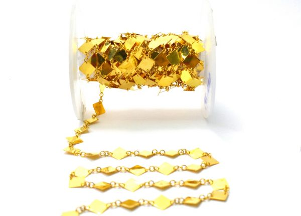 18K Solid Yellow Gold Gorgeous Handcrafted Plain Chain, Shiny Finish 6MM Square Flat Chain.Sold by 17 cm,SGGRC-043.