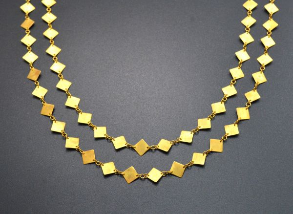 18K Solid Yellow Gold splendid Handmade Plain Chain, Brushed Finish 6MM Square Flat Chain. Sold by 17 cm, SGGRC-044