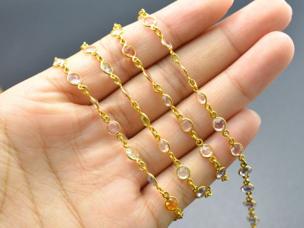 18K Solid Yellow Gold Attractive Bezel Chain With Natural Round Multi Sapphire Stone Size - 4.00 MM. Sold By 17CM, SGGRC-047