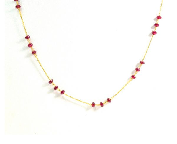 18K Solid Yellow Gold, Elegant Wire Wrapped Necklace with AAA Quality Natural Ruby Stones. Roundel -3.50mm Sold by 1 Pc, SGGRC-096