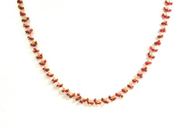 18K Solid Yellow Gold, Exquisite Wire Wrapped Necklace with AAA Quality Natural Ruby Stones. Roundel -2.50mm - 3.00mm Sold by 1 Pc, SGGRC-097.