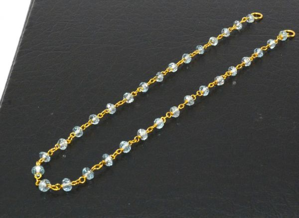 14K Solid Yellow Gold Magnificent Wire Wrapped Necklace with AAA Quality Natural Blue Topaz Stones. Roundel- 2.50mm, Sold by 1 Pc, SGGRC-228.
