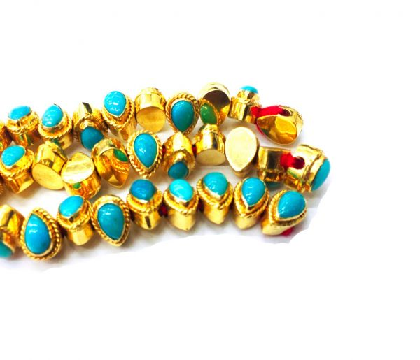 18K Solid Yellow Gold Amazing  Pear Shape Bead With Natural  Turquoise Stone Studded Size 6.50X4.50X4.50 MM , Sold By 1Pc, SGTAN-1084
