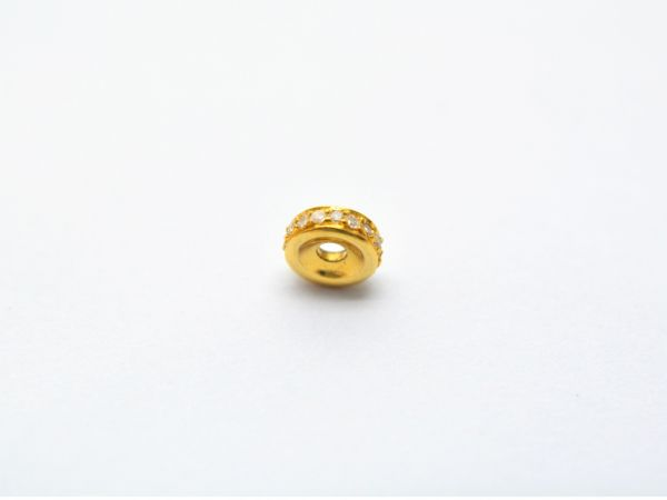18K Magnificant Solid Gold Wheel Shape Micro Pave Diamond Bead, Size-6.00X2.00mm. Sold By 1Pc, SGTAN-1146