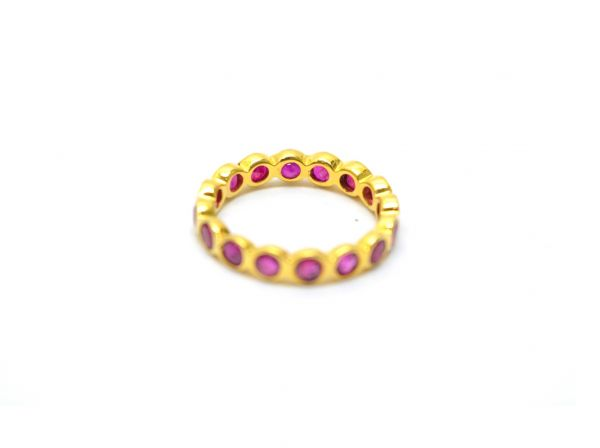 18K  Elegant Solid Yellow Gold Round  Shape Ring With Natural Ruby  Stone . Size-4 No. Sold By 1Pc. SGTAN-1204
