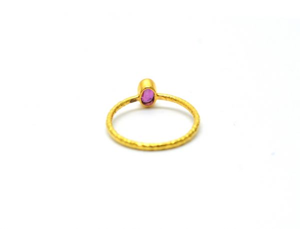 18K  Amazing Solid Yellow Gold Oval  Shape Ring With Natural Ruby  Stone . Size-5 No. Sold By 1Pc. SGTAN-1209