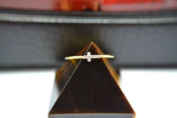 14K Solid Yellow Gold Pretty Jesus Cross Shape Ring With Diamond Stone Studded. Ring Size- 7 No. Sold By 1 Pc.SGTAN-1290
