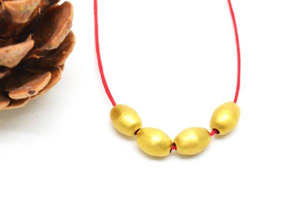 18K Solid Yellow Gold Oval Shape Matt Beads In 8.5x6mm.