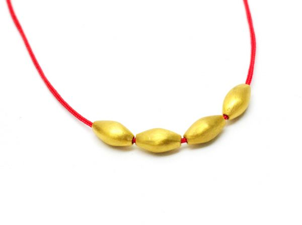 18K Solid Yellow Gold Bead -Marquise Shape And 8x4 mm Size
