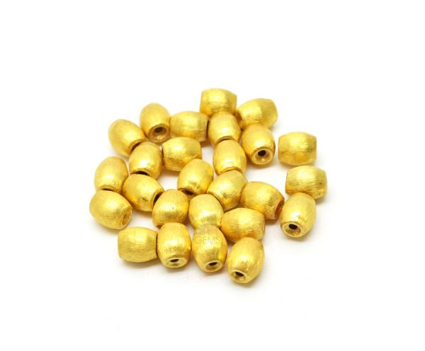 18K Solid Yellow Gold  Oval Shape Bead In 8x7 mm Bead