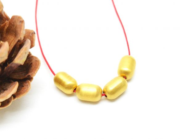 18K Solid Yellow Gold Drum Bead, (10x6.50mm Size)