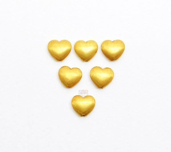 18K Solid Yellow Gold Heart Shape 10X10mm Bead.