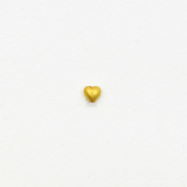 18K Solid Yellow Gold Heart Shape Matt Finished, 5.50X5.50mm Bead.