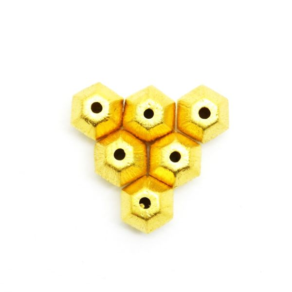18K Solid Yellow Gold Fancy  Shape Matt Brushed Finished, 9X10mm Bead
