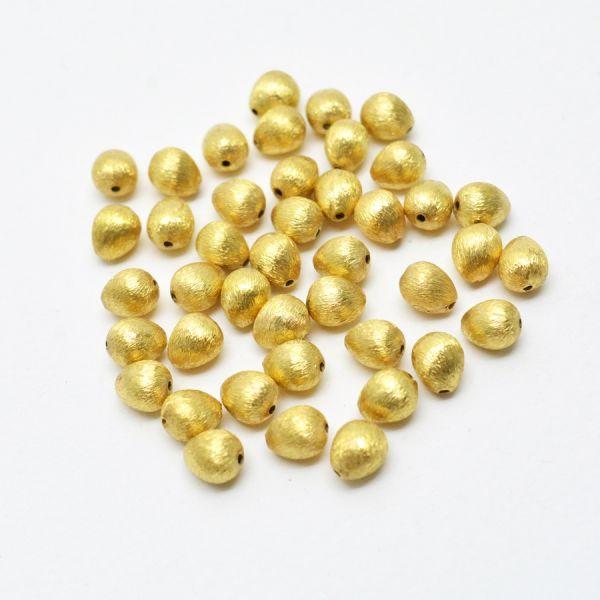 18K Solid Yellow Gold Pear Drop  Shape Matt Brushed Finished, 8X6mm Bead