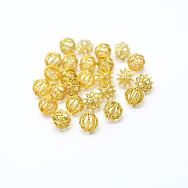 18K Solid Yellow Gold Fancy Round ball shape beads Fancy Finished, 6mm Bead