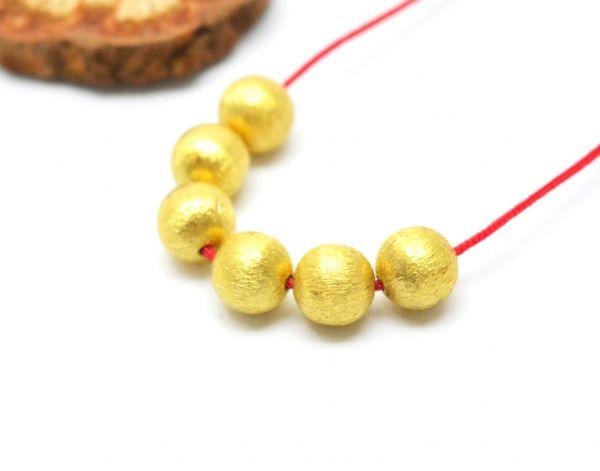 18K Solid Yellow Gold Baic Shape Matt Brushed Finished 6mm Bead