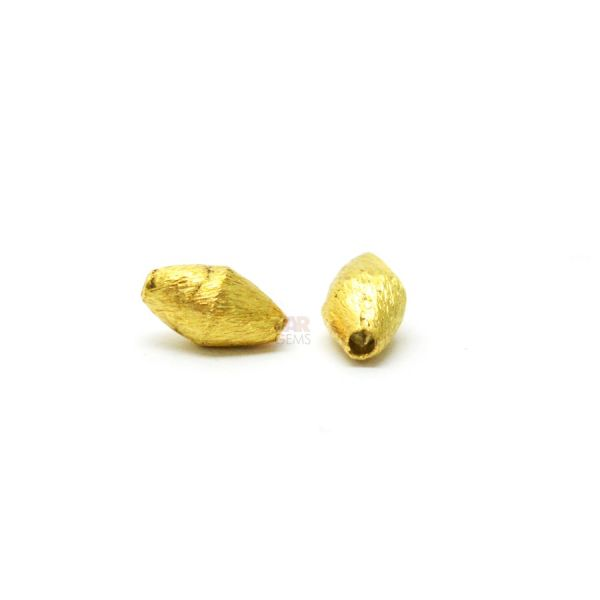 18K Solid Yellow Gold Drum Shape Matt Brushed Finished 8X4mm Bead