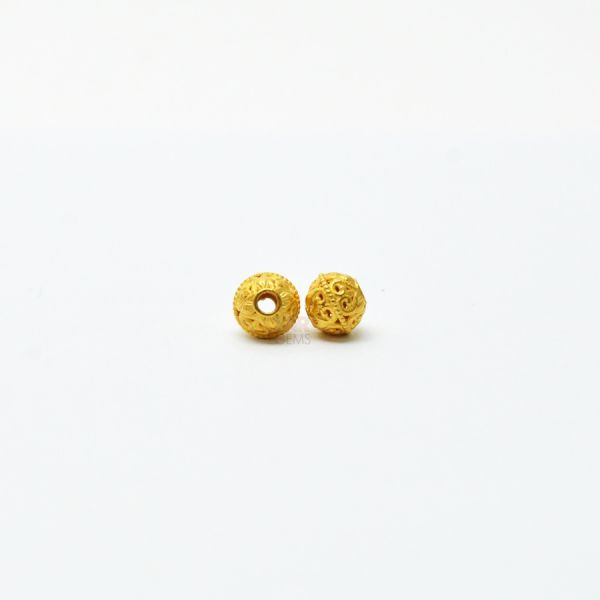 18K Solid Yellow Gold Roundell Shape  Taxtured Finishing 7X6 mm Bead