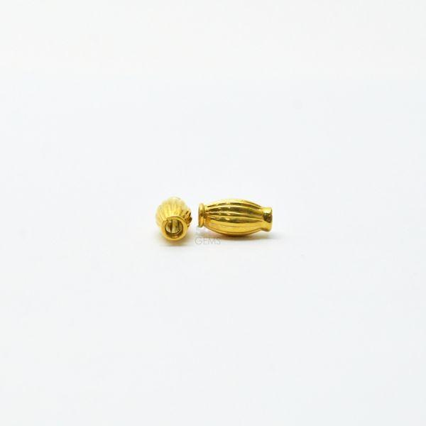18K Solid Yellow Gold Rice Drum Shape Plain Lining Finishing 9X5mm Bead