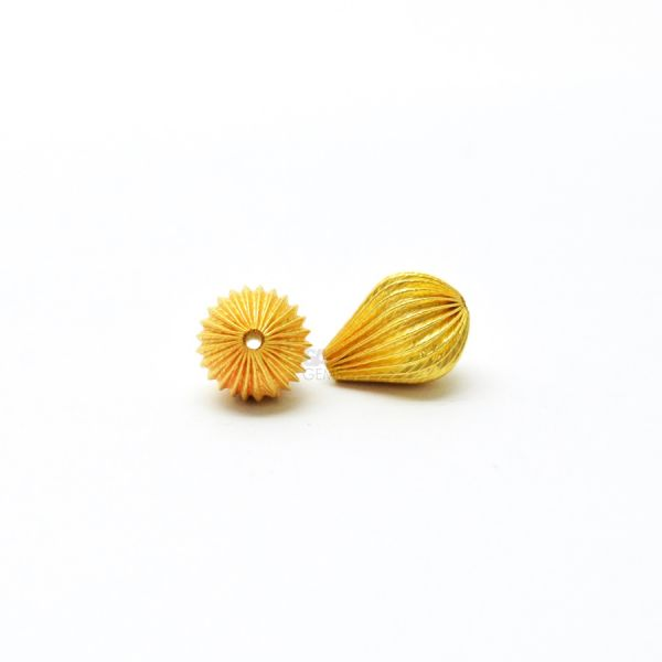 18K Solid Yellow Gold Drop Shape Plain Lining Finishing 13X10mm Bead