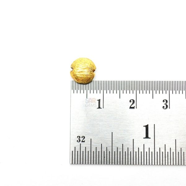18K Solid Yellow Gold Puff Coin Shape Fancy Brushed Finishing 8mm Bead