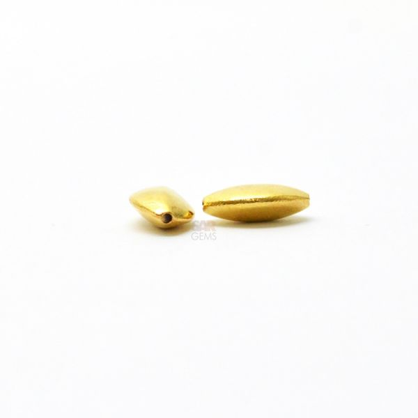 18K Solid Yellow Gold Marquise Shape Plain Finished, 6.5X10.3X3.5mm Bead.