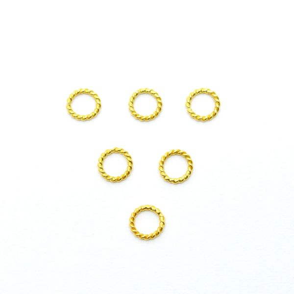18 Karat Gold Jumpring Beads, Beads in Round Shape With Teistes Wire Finishing - 4.5X0.7mm Size