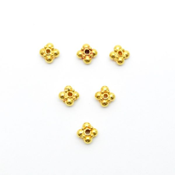 18k Solid Gold Flower Beads With 5X3 MM Size For Jewelry Making