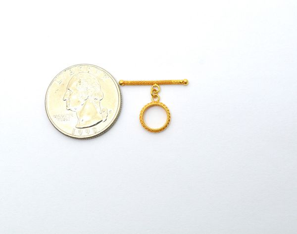 18k Solid Yellow Gold Toggle Clasp In Shape Toggle Wire Shiny Finish 2X22.5X1.3 mm