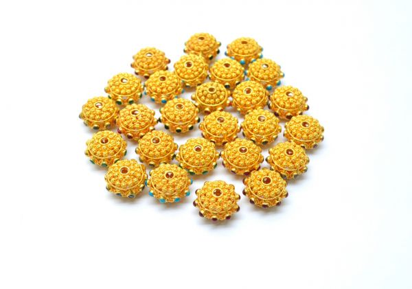 18K Solid Yellow Gold Bead in Roundel Shape - 16X10 mm Size