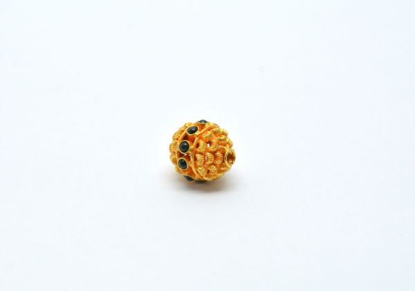18K Solid Yellow Gold Fancy Roundel Shape 13X5X11.5 mm Bead With Stone.
