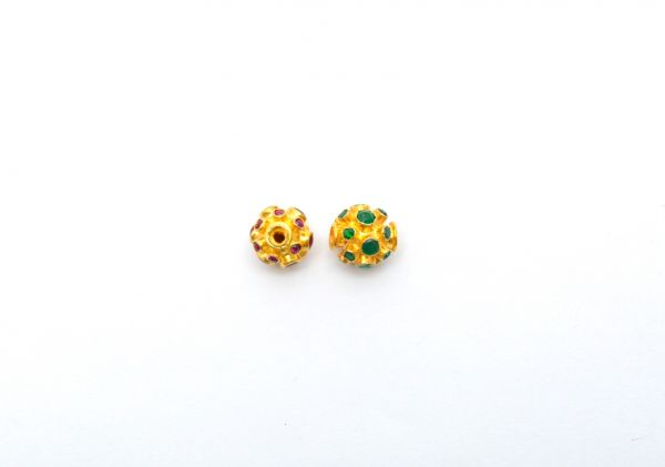 18K Solid Yellow Gold Round Shape 11X11 mm Bead With Stone.