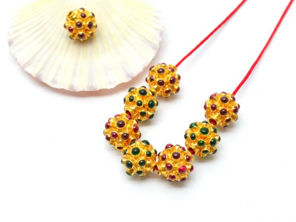 18K Solid Yellow Gold Round Shape 11X10.5 mm Bead With Stone Studded.